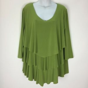 Susan Graver 2X Green Stretch Knit Top Shirt